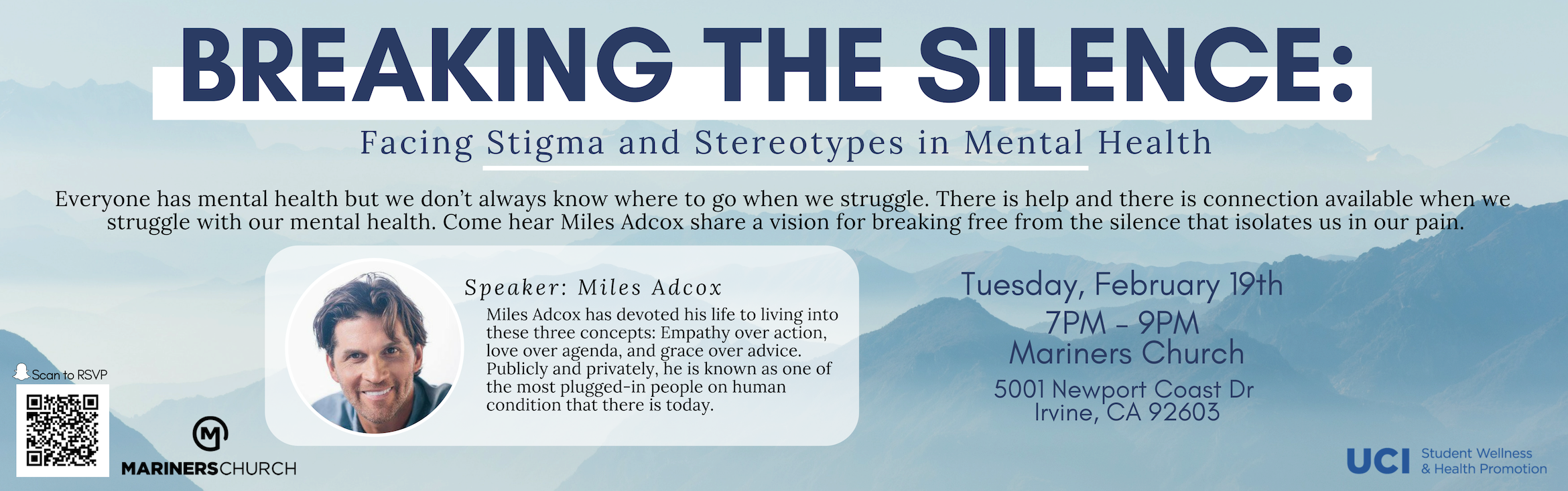 Breaking the Silence: Facing Stigma and Stereotypes in Mental Health.   Everyone has mental health but we don't always know where to go when we struggle.  This is help and there is connection available when we struggle with our mental health.  Come hear