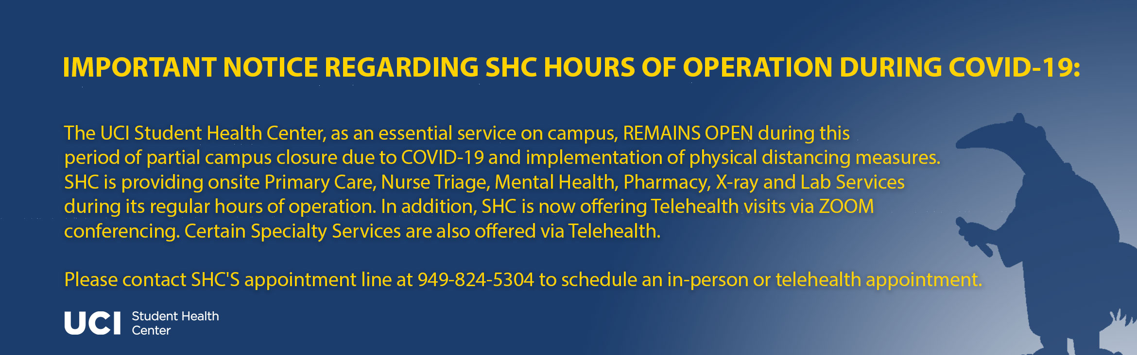 Important Notice regarding SHC Hours of Operation During COVID-19