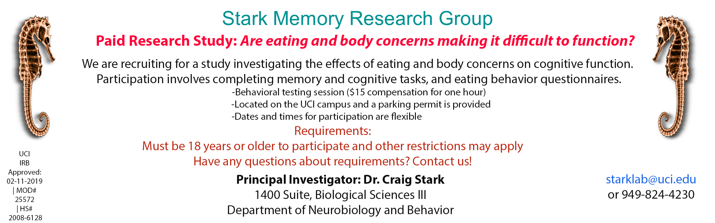 Stark Memory Research Group,  Paid Research Study: Are eating and body concerns making it difficult to function?  We are recruiting for a study investigating the effects of eating and body concerns on cognitive function.  Participation involves completing