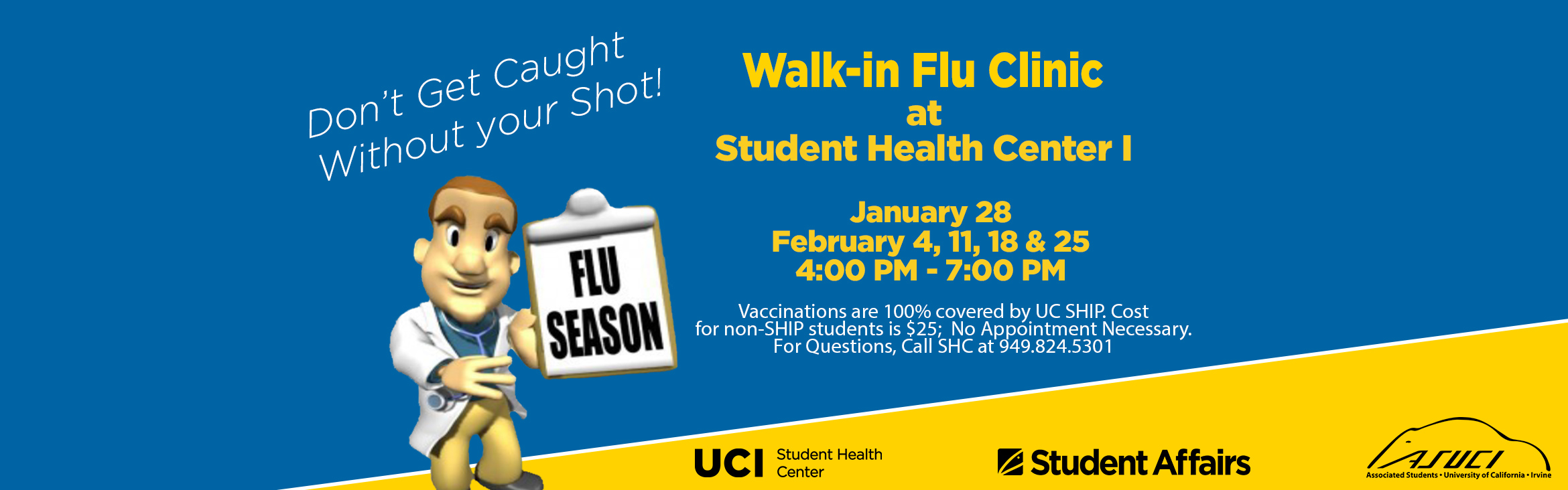 Walk-In Flu Clinic at SHC (4-7pm: no appointment necessary)